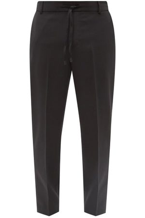 Maison Kitsuné Logo-embroidered Tapered Twill Trousers - Mens