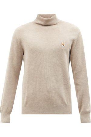 Maison Kitsuné Fox Head Roll-neck Wool Sweater - Mens