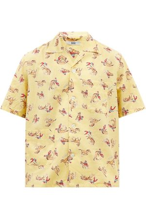 BODE Men Short sleeves - Cowboy-print Cotton Short-sleeved Shirt - Mens