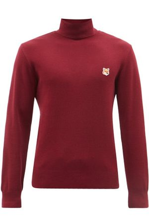 Maison Kitsuné Fox Head Roll-neck Wool Sweater - Mens - Burgundy