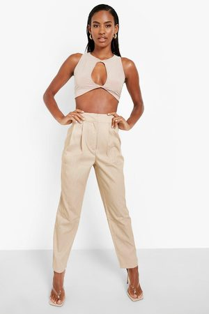 Boohoo Womens Pleat Detail Casual Woven Trouser - - 2