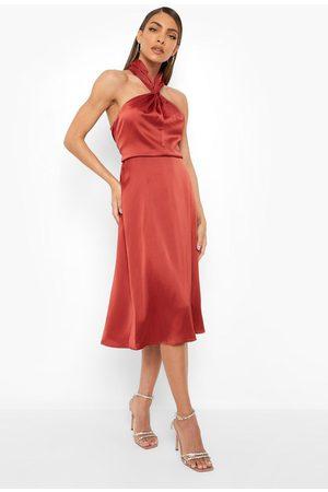 Boohoo Womens Satin Halterneck Twist Midi Bridesmaid Dress - - 4