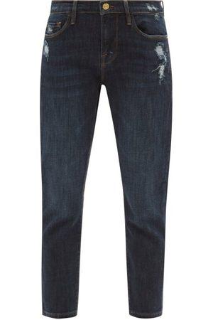Frame Women Slim - Le Garcon Cropped Distressed Slim-leg Jeans - Womens - Dark Denim