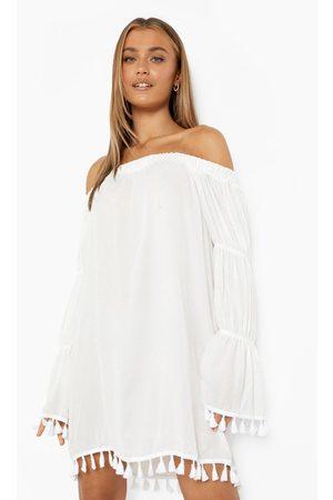 Boohoo Womens Bardot Long Tiered Sleeve Tassel Shift Dress - - 4