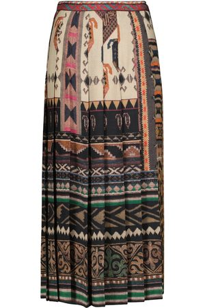 Etro Printed wool and silk midi skirt