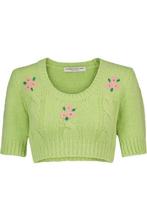 Alessandra Rich Alpaca and wool-blend cropped sweater