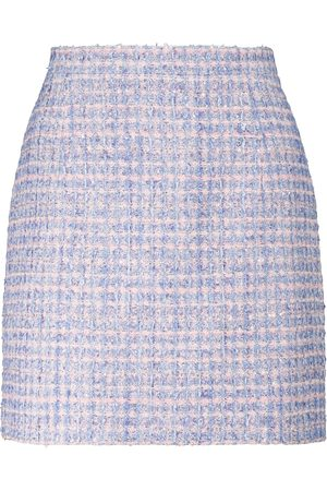 Alessandra Rich Sequined checked tweed miniskirt