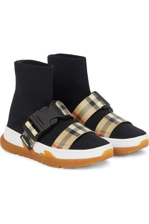 Burberry Checked stretch-knit sock sneakers