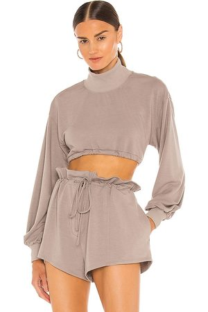 h:ours Georgi Cropped Sweatshirt in Taupe.
