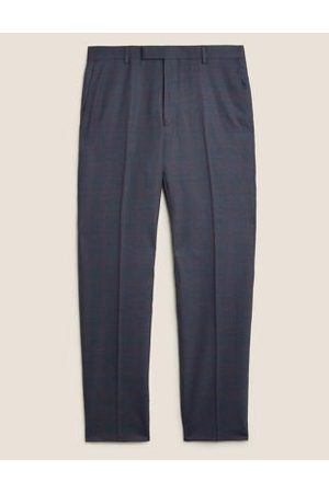 Marks & Spencer Men Formal Pants - Tailored Fit Wool Check Trousers
