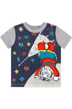 Gucci T-shirts - Baby cotton t-shirt with space cat print - Grey