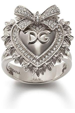 Dolce & Gabbana Women Rings - 18kt white gold Devotion diamond sacred heart ring