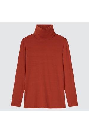 UNIQLO Women Turtlenecks - Women's HEATTECH Turtleneck T-Shirt, Orange, XXS