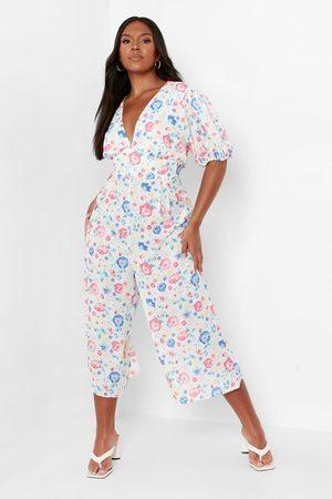 Boohoo Womens Plus Floral Wide Leg Culotte Jumpsuit - - 12