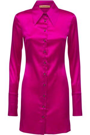The Andamane Women Casual Dresses - Ginevra Silk Satin Shirt Mini Dress