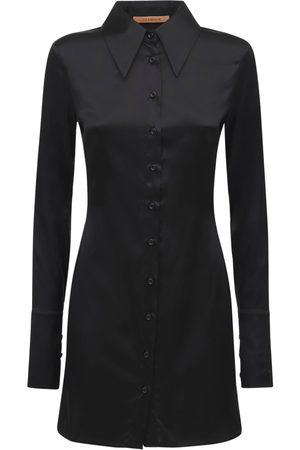 The Andamane Ginevra Silk Satin Shirt Mini Dress