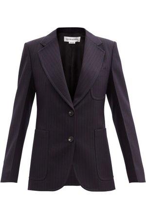 Victoria Beckham Women Blazers - Striped Wool-twill Jacket - Womens - Navy