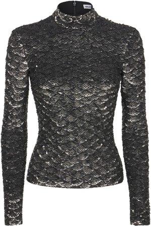 Balenciaga Women High Necks - Metallic Sequined Turtleneck Top