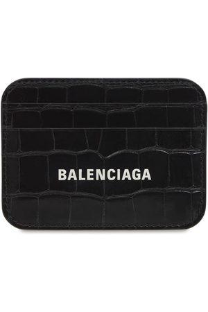 Balenciaga Logo Croc Embossed Leather Card Holder