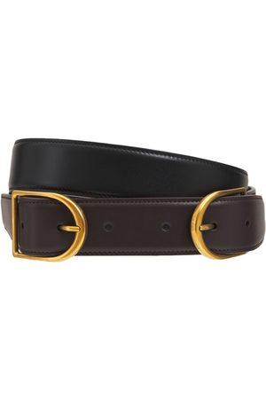 Saint Laurent Double Buckle Leather Belt