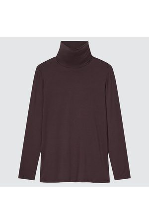 UNIQLO Women Turtlenecks - Women's HEATTECH Turtleneck T-Shirt, Brown, XS