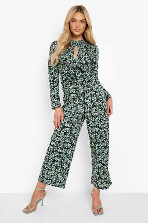 Boohoo Women Culottes - Womens Floral Tie Waist Culotte Jumpsuit - - 4