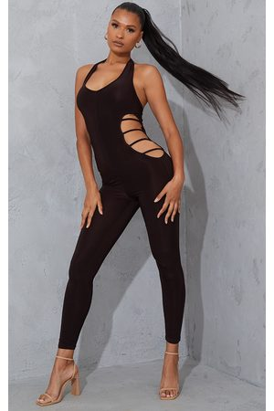 PRETTYLITTLETHING Women Jumpsuits - Chocolate Slinky Plunge Cut Out Side Jumpsuit