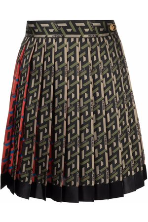 VERSACE Women Printed Skirts - Pleated geometric-print skirt