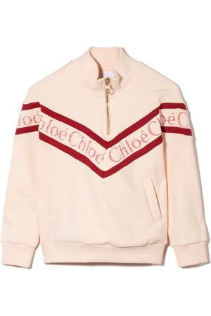 Chloé Girls Hoodies - Lace-logo high-neck sweatshirt