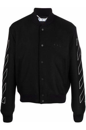 OFF-WHITE Men Bomber Jackets - Diagonal stripe varsity bomber jacket