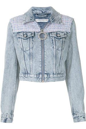 Alessandra Rich Women Denim Jackets - Contrast-panel crystal-embellished denim jacket