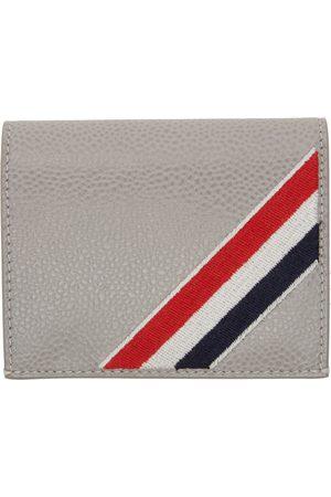 Thom Browne Women Wallets - Grey Diagonal Stripe Bifold Card Holder