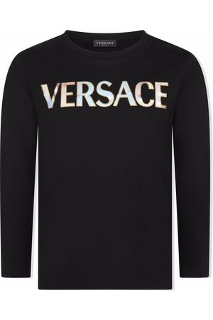 VERSACE Boys Long Sleeve - Long-sleeve logo-print T-shirt