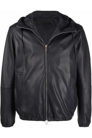 Emporio Armani Men Leather Jackets - Logo-plaque leather jacket