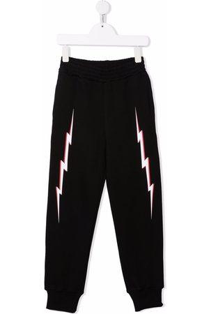 Neil Barrett Boys Sweatpants - Thunderbolt print track pants