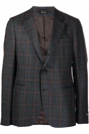 Z Zegna Men Blazers - Plaid-check blazer - Grey