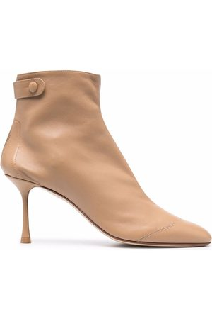 Francesco Russo Women Ankle Boots - Snap-fastened leather ankle boots - Neutrals