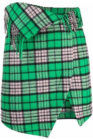 The Attico Women Printed Skirts - Check-pattern asymmetric mini skirt
