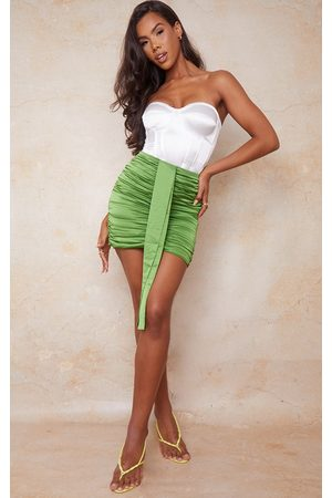 PRETTYLITTLETHING Bright Satin Ruched Side Mini Skirt