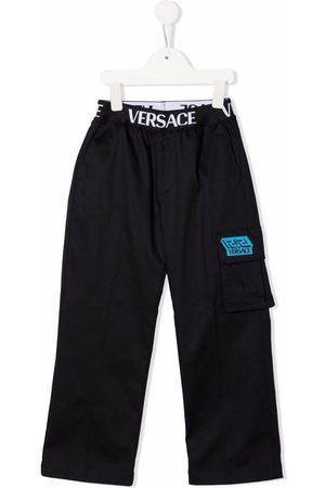 VERSACE Boys Straight Leg Pants - Logo-waistband straight-leg trousers