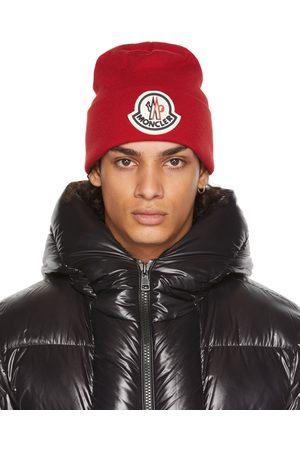 Moncler Men Beanies - Red Wool Logo Beanie