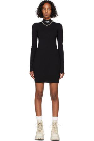 Heron Preston Women Knitted Dresses - Black Rib Knit Logo Dress