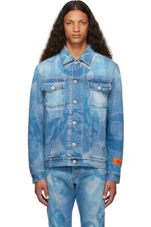 Heron Preston Men Denim Jackets - Denim Camou Jacket