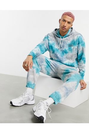 ASOS Men Sports Pants - Oversized sweatpants in blue and gray tie dye with San Francisco embroidery - part of a set-Multi