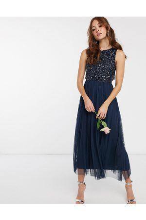 Maya Bridesmaid sleeveless midaxi tulle dress with tonal delicate sequin overlay in navy