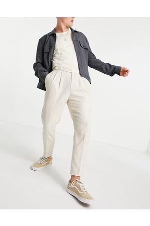 ASOS Tapered smart pants in stone cross hatch-Neutral