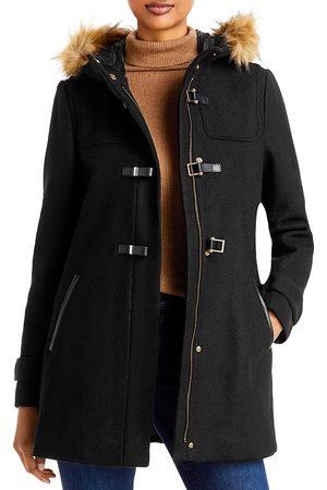 Cole Haan Women Duffle Coat - Hooded Faux Fur Trim Duffle Coat