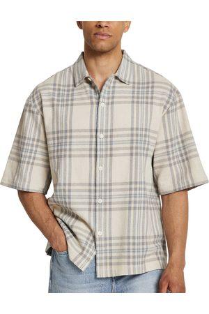 River Island Men's Plaid Short Sleeve Cotton Button-Up Shirt