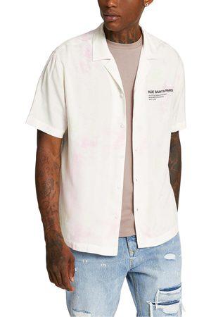 River Island Men's Tie Dye Short Sleeve Button-Up Camp Shirt