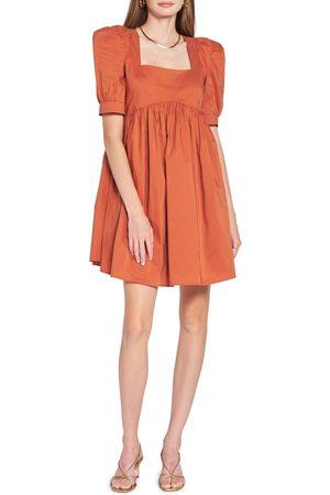 En Saison Women's Cotton Blend Poplin Babydoll Minidress